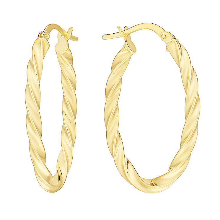 9ct Yellow Gold Twist Oval Creole Hoop Earrings - Product number 2968908