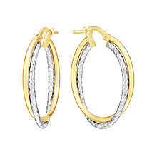 9ct Yellow & White Gold Double Hoop Creole Earrings - Product number 2968967
