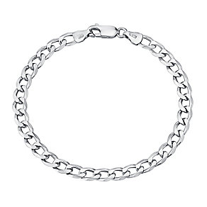 Sterling Silver Rhodium Plated Curb Bracelet - Product number 2969068