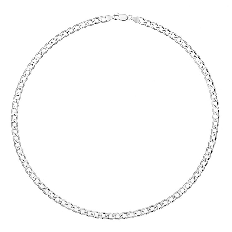 "Sterling Silver Rhodium Plated 18"" Curb Chain - Product number 2969084"