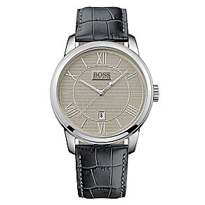 Hugo Boss men's stainless steel black leather strap watch - Product number 2972719