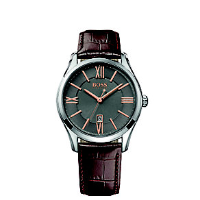 Hugo Boss men's stainless steel brown leather strap watch - Product number 2972727