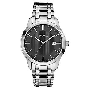 Bulova Men's Black Dial Stainless Steel Bracelet Strap Watch - Product number 2974339