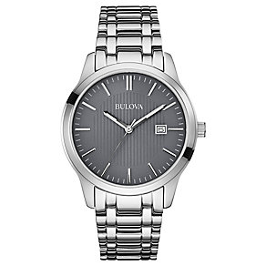Bulova Men's Grey Dial Stainless Steel Bracelet Strap Watch - Product number 2974347