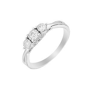 9ct White Gold 1/5 Carat Diamond Trilogy Ring - Product number 2974770