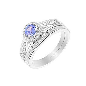 Perfect Fit 9ct White Gold Diamond & Tanzanite Bridal Set - Product number 2975114