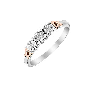 9ct White & Rose Gold Heart Detail Diamond Trilogy Ring - Product number 2975270