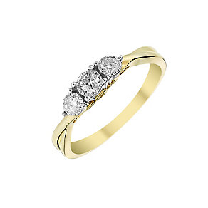 9ct Yellow Gold 1/5 Carat Diamond Trilogy Ring - Product number 2975416