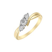 9ct Yellow Gold 1/5 Carat Diamond Twist Trilogy Ring - Product number 2975688