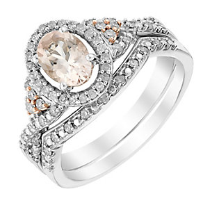 Perfect Fit 1/4 Carat Diamond & Morganite Bridal Set - Product number 2975823