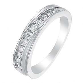 9ct White Gold 1/4 Carat Crossover Diamond Eternity Ring - Product number 2976099
