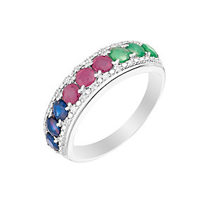 Silver Sapphire Treated Ruby Emerald & Diamond Eternity Ring - Product number 2976234