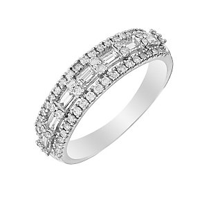 9ct White Gold Baguette Cut Half Carat Diamond Eternity Ring - Product number 2976366