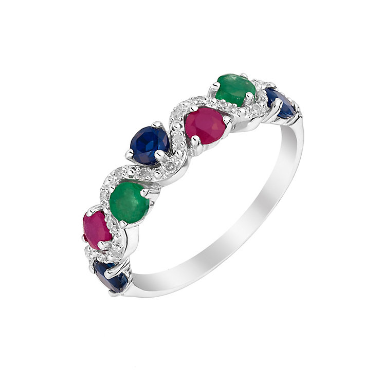Silver Sapphire Treated Ruby Emerald & Diamond Eternity Ring - Product number 2976498
