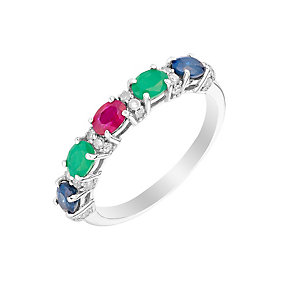Silver Sapphire Treated Ruby Emerald & Diamond Eternity Ring - Product number 2976625