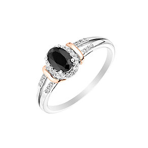 Silver & 9ct Rose Gold Sapphire & Diamond Halo Ring - Product number 2977176