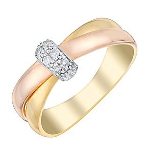 9ct Three Gold Diamond Set Crossover Eternity Ring - Product number 2977621