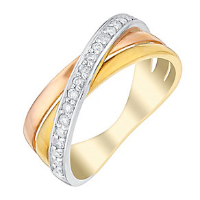 9ct Three Colour Gold Crossover Diamond Eternity Ring - Product number 2978016