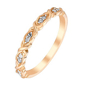 9ct Rose Gold & Diamond Kiss Design Eternity Ring - Product number 2978458