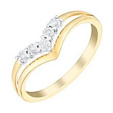 9ct Yellow Gold Wishbone V Shaped Diamond Eternity Ring - Product number 2978830