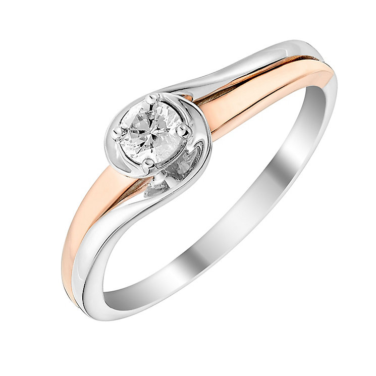 9ct White & Rose Gold Diamond Wrap Solitaire Ring - Product number 2979152