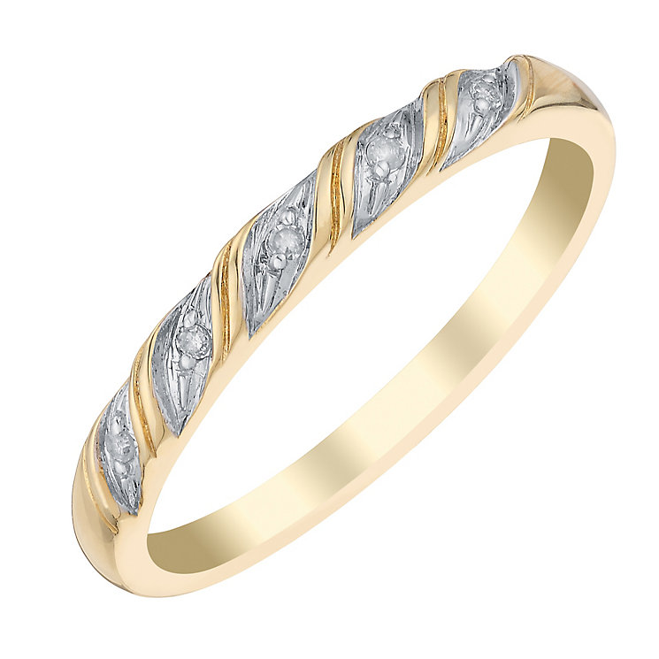 9ct Yellow Gold Twist Diamond Eternity Ring - Product number 2979284