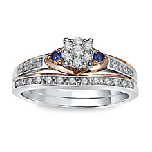 Perfect Fit White & Rose Gold Diamond & Sapphire Bridal Set - Product number 2979594