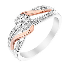 Silver & 9ct Rose Gold Twist Diamond Cluster Ring - Product number 2979713
