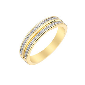 9ct Yellow Gold Double Diamond Eternity Ring - Product number 2980053
