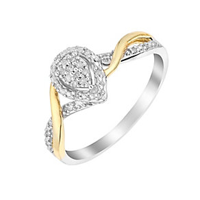 Silver & 9ct Yellow Gold Pear Shaped Diamond Cluster Ring - Product number 2980290