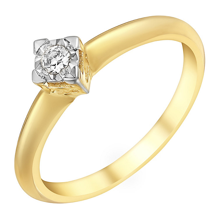 9ct Yellow Gold Twist Square Illusion Diamond Ring - Product number 2980789