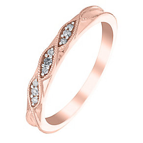 9ct Rose Gold Woven Twist Diamond Eternity Ring - Product number 2980924