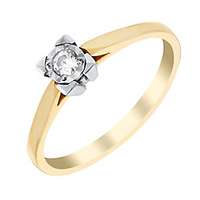 9ct Yellow Gold Square Illusion Set Diamond Solitaire Ring - Product number 2981041
