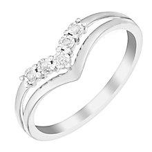 9ct White Gold Wishbone V Shaped Diamond Eternity Ring - Product number 2981211