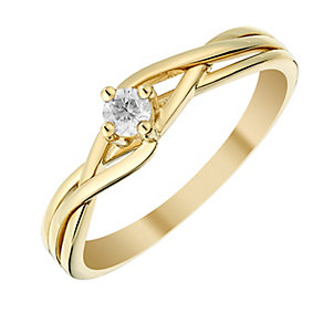 9ct Yellow Gold Intricate Lattice Design Diamond Ring - Product number 2981351
