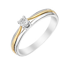 9ct White & Yellow Gold Diamond Solitaire Ring - Product number 2981637