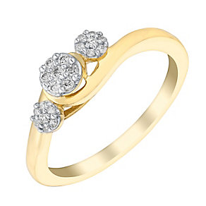 Cherished 9ct Yellow Gold Diamond Cluster Trilogy Ring - Product number 2982072