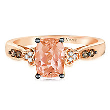 14ct Strawberry Gold Peach Morganite & Diamond Ring - Product number 2982617