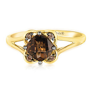 14ct Honey Gold Chocolate Quartz & Diamond Ring - Product number 2982889