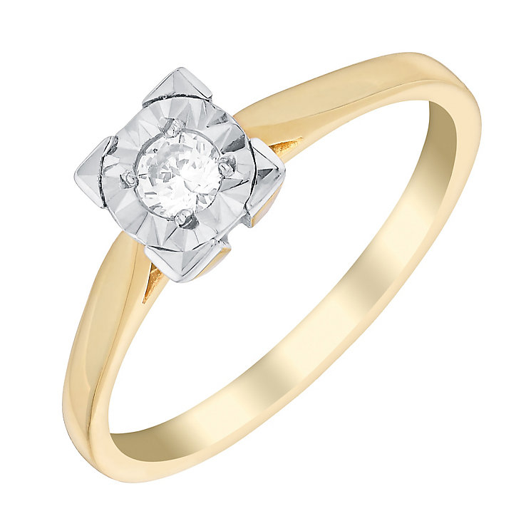 9ct Two Colour Gold Square Illusion Diamond Solitaire Ring - Product number 2983214
