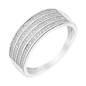 Sterling Silver Four Row Diamond Eternity Ring - Product number 2983559