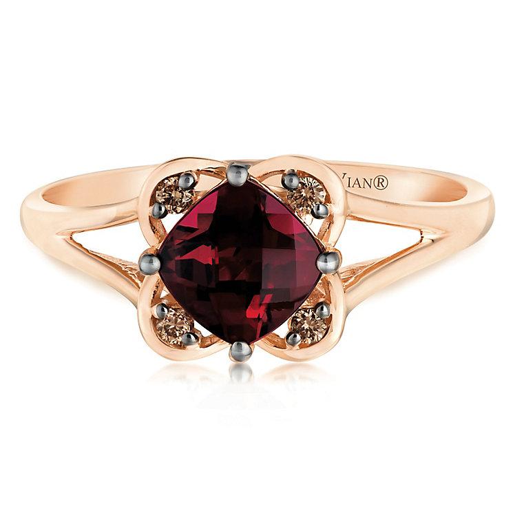 14ct Strawberry Gold Raspberry Rhodalite & Diamond Ring - Product number 2983680
