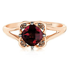 14ct Strawberry Gold Raspberry Rhodalite & Diamond Ring - Product number 2983680