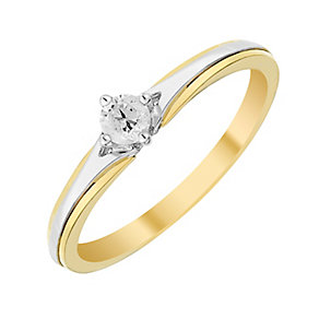 9ct Yellow & White Gold Diamond Solitaire Ring - Product number 2983907