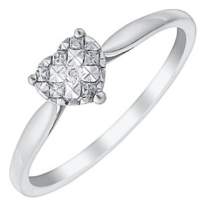 9ct White Gold Heart Shaped Diamond Cluster Ring - Product number 2984059