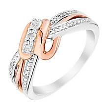 Silver & 9ct Rose Gold Trio Diamond Eternity Ring - Product number 2984571