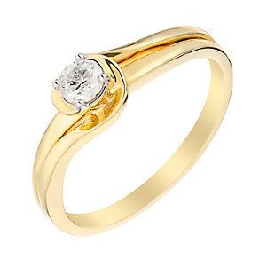 9ct Yellow Gold Diamond Wrap Solitaire Ring - Product number 2984946