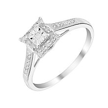9ct White Gold Square Illusion Diamond Cluster - Product number 2985195