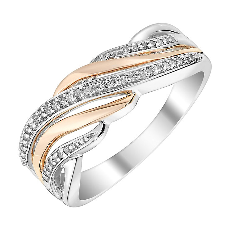 Silver & 9ct Rose Gold Diamond Wave Eternity Ring - Product number 2985357