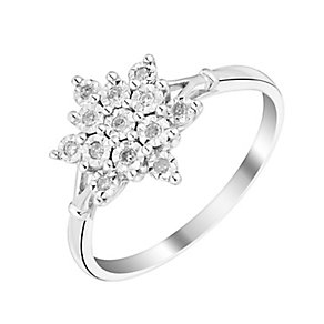 9ct White Gold Snowflake Diamond Cluster Ring - Product number 2986000